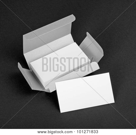 White Business Cards In The Silvery Box.