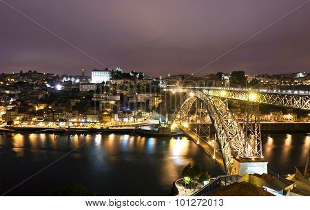 Night View Of City Of Porto, Portugal