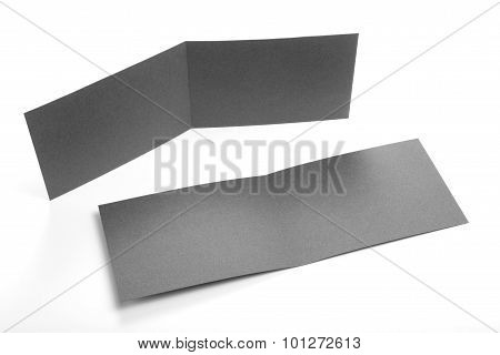 Blank Two-fold Flyers Or Leaflets On White.