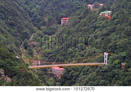 Suspension bridge in national park of mountain Lu