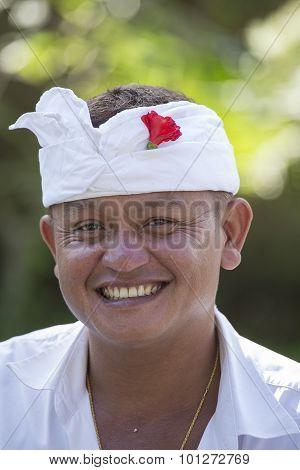 Portrait Man In Bali Island. Indonesia