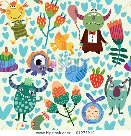 Cute Children Seamless Pattern With Monsters And Flowers. Seamless Pattern Can Be Used For Wallpaper