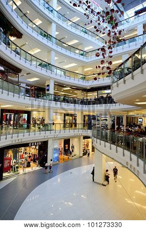 BANGKOK, THAILAND - JUNE 21, 2015: shopping center interior. Shopping centres such as Siam Paragon, Central World Plaza, Emperium, Gaysorn and Central Chidlom become shopping Mecca for shopaholics