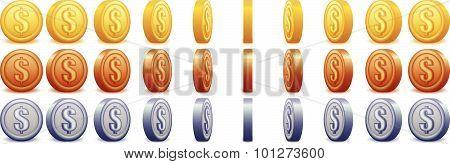 Spinning Coins With Dollar