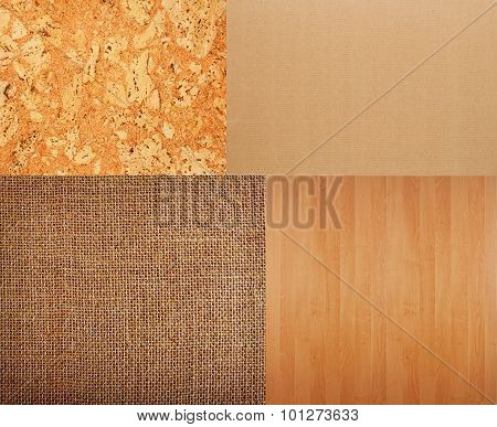 Collection Of Textures Backgrounds - Burlap, Cork, Timber, Corrugated.