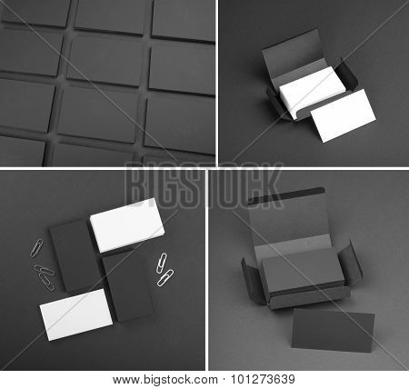 Set Of Business Cards On A Black Background.