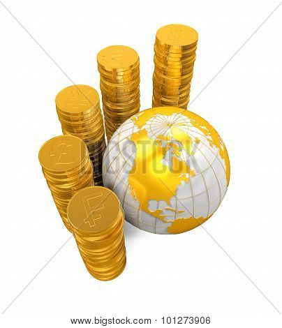 Gold Coins Currency Around a Globe