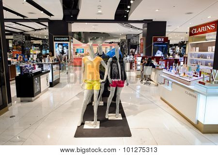 BANGKOK, THAILAND - JUNE 20, 2015: shopping center interior. Shopping centres such as Siam Paragon, Central World Plaza, Emperium, Gaysorn and Central Chidlom become shopping Mecca for shopaholics