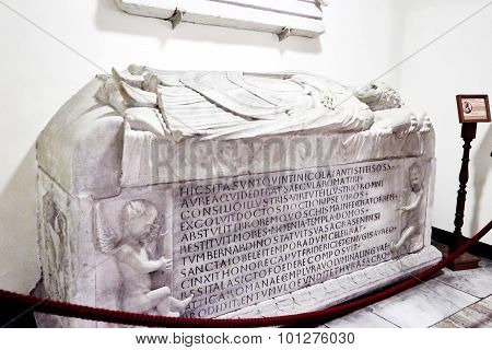 Papal Tomb In The Crypt Beneath The Basilica Of St. Peter's Basilica In The Vatican