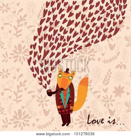 Happy Valentine's Day Card With Fox Hipster. Stylish Floral Romantic Invitation Card In Vector