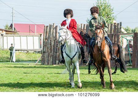 Show of Cossacks on horses. Tyumen. Russia