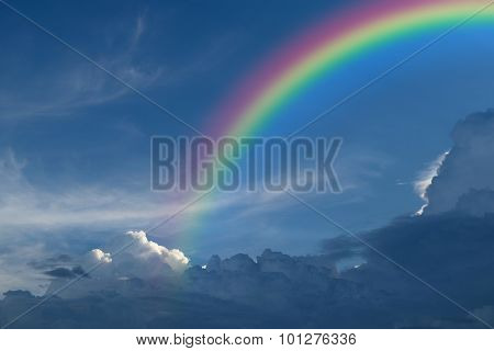 Blue Sky With Rainbow