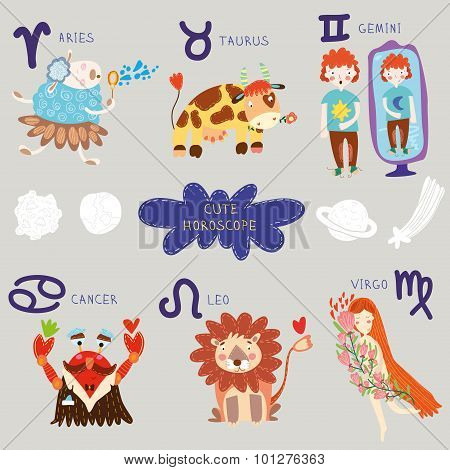 Cute Horoscope. Zodiac Set.aries, Taurus, Gemini,cancer,leo,virgo