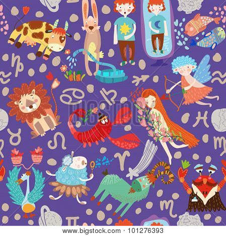 Cute Seamless Pattern With Horoscope.aries, Taurus, Gemini,cancer,leo,virgo,libra,scorpio,sagittariu