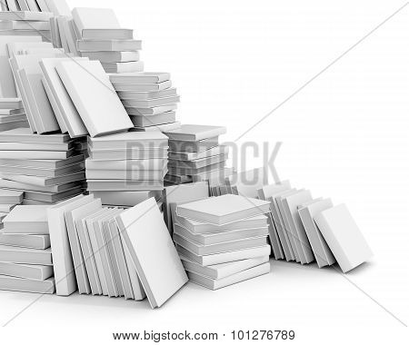 Many White Book On A White Background.