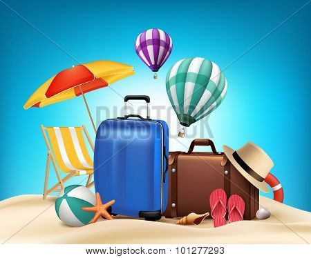 3D Realistic Summer Vacation Poster Design with Bags