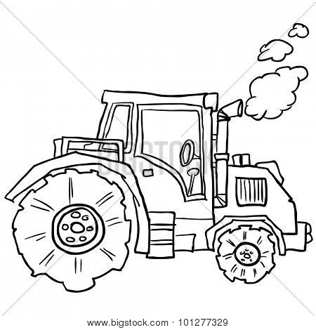 tractor doodle cartoon illustration