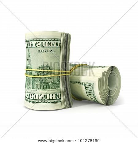 Close Up Bunch Of  Dollar Paper Bill Rolled With Rubber, Isolated On White Background.