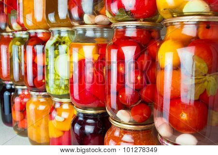 Preserved vegetables and food ingredients set in a row