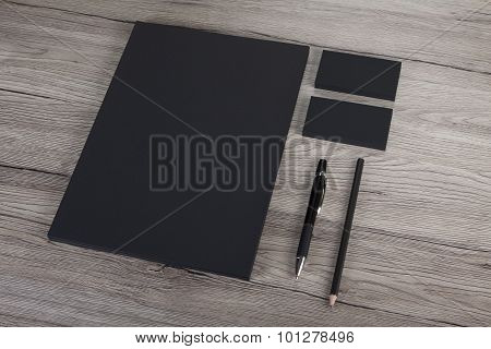 Blank Stationery On White Background. Consist Of Business Cards, A4 Letterheads, Pen And Pencil.