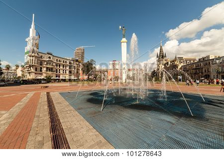 Batumi, Georgia - September 7: Eras Moedani Square With Medea Statue On September 7, 2015 In Batumi,