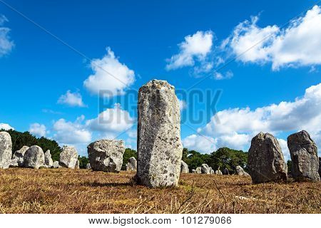 Menhirs alignment. Carnac, Britain