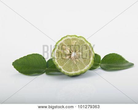 bergamot kaffir lime leaves herb fresh ingredient food asian thailand white background