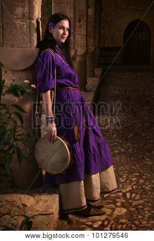 Brunette Girl In A Medieval Suit In A Agia Napa Medieval Monastery