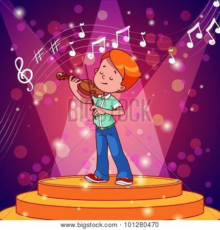 Cartoon Boy Plays The Violin.