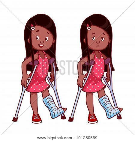 Cheerful And Sad Girl With A Broken Leg In A Cast.