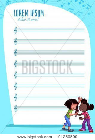 Blank Stave For Kids With Singing Girls