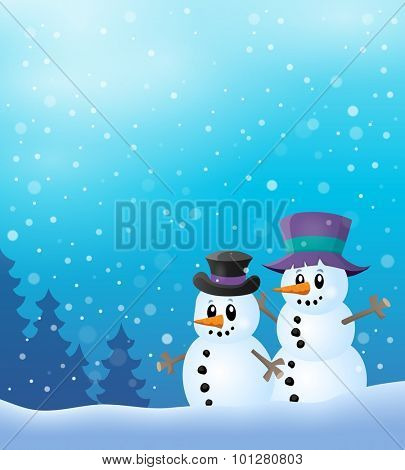 Winter snowmen thematics image 2 - eps10 vector illustration.