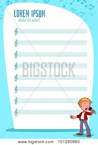 Blank Stave For Kids With Singing Boy