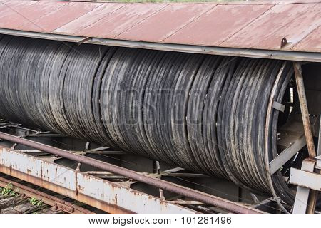 huge old electric cable reel