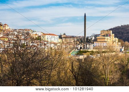 View of Veliko Tarnovo, Bulgaria and Assenevtsi monument