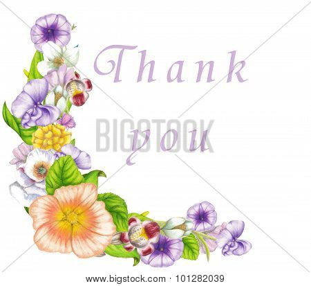 Watercolor card with colorful floral banner on white background
