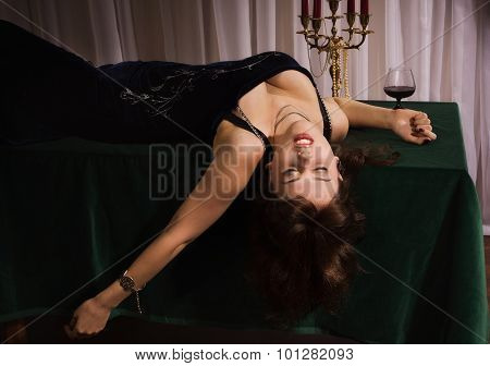 Fashionable Attractive Women Lying On The Floor