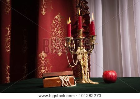 Composition With Apple, Candlestick And Jewellery Box