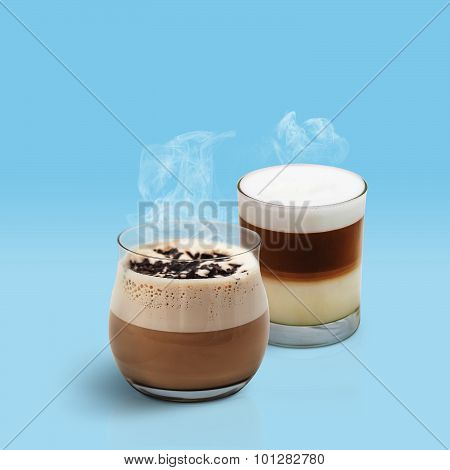 Cappuccino And Latte On Blue Background