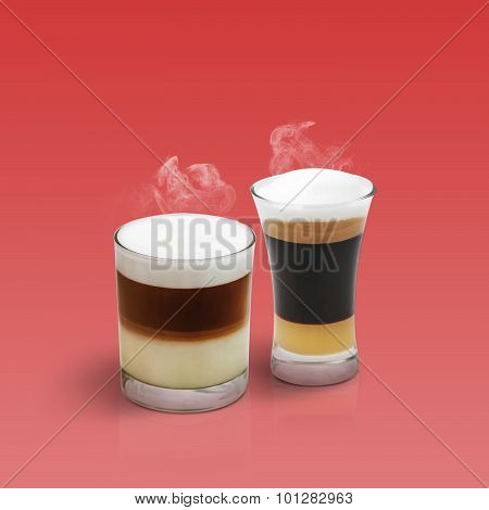 Latte And Mocha On Red Background