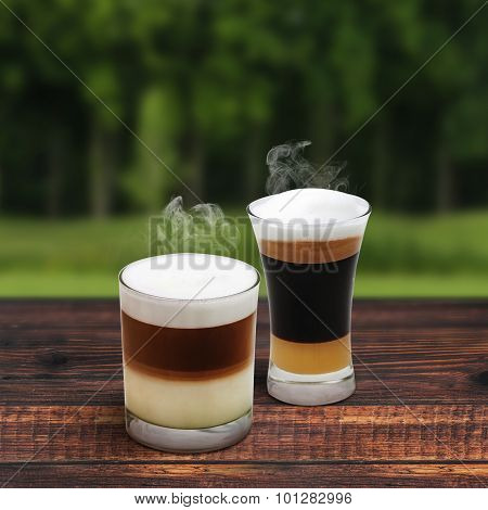 Latte And Mocha On Tree Background