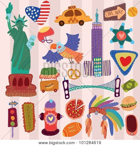 America Cute Set (a Set Of Cartoon Design Elements)