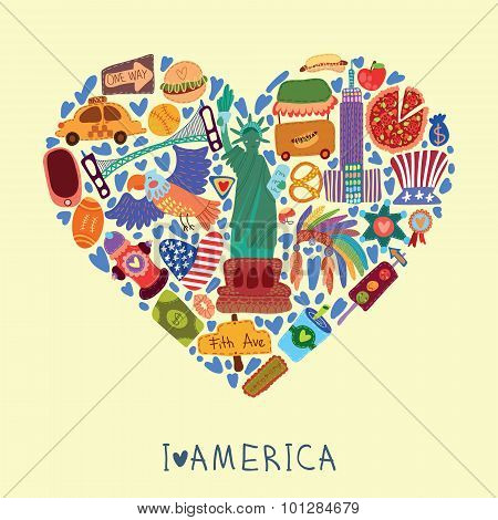 Greeting Card-i Love America. With Many Vector Cute Elements Stylish Design Element In Bright Colors