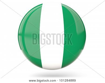Round Icon With Flag Of Nigeria