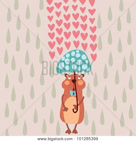 Romantic Concept With Cute Gopher Valentines Day Card In Pastel Colors
