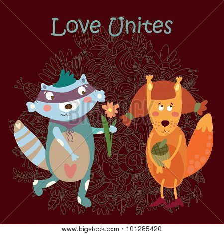 Romantic Concept With Cute Raccoon And Squirrel Valentines Day Card In Cartoon Style