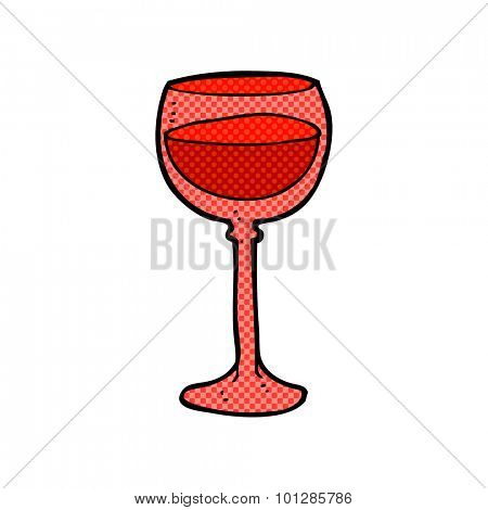 comic book style cartoon wine glass