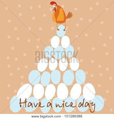 Stylish Card With Cute Chicken For Good Mood