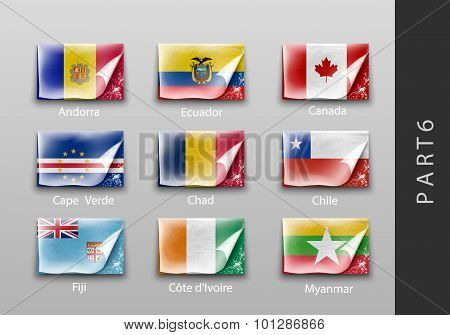 flags of all the countries tattered masking tape