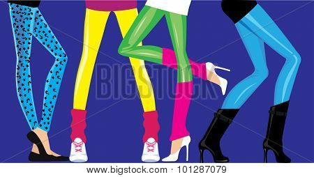 female legs  in leggings of disco style